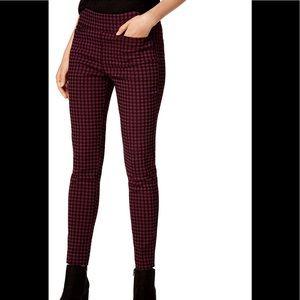 Houndstooth savory wine trousers sz XXS